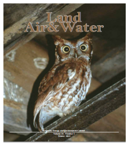 The cover features an Eastern screech owl photographed in Nelson County by Todd Hendricks, who works in the Division of Waste Management.