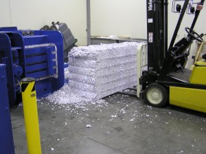 A bale of shredded white office paper ready to be shipped to a paper mill for recycling. Photo by Gary Logsdon.