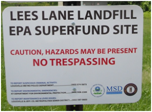 No trespassing sign posted at Lee's Lane Landfill EPA Superfund Site. KDWM staff photo.