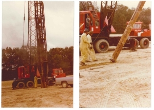 The photo to the left illustrates the methods used to install the soon-to-be-abandoned trench sumps. They were simply driven in, which is a crude construction compared to how we would install a well today, with a drilling approach. The photo to the right illustrates the crude construction of the fixture - field constructed with torch-cut slots to allow for water to come into the sump for removal. The primary purpose of the sumps was to dewater and then be in place to dewater again later if the water levels should rise to a sufficient level to cause concern. Photo: Kentucky Division of Waste Management.
