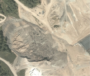 After the Slide: Aerial View (above) – Here's an aerial view of the slide. The higher elevation is lower center in the view. The slide area is from that point to the upper left of the view.