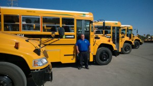 Wayne Winters shows off Crittenden County's new propane-fueled school bus.