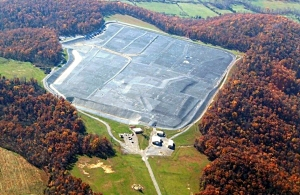 Aerial photograph of the Maxey Flats Disposal Site in Hillsboro, Ky., by Thomas Stewart.